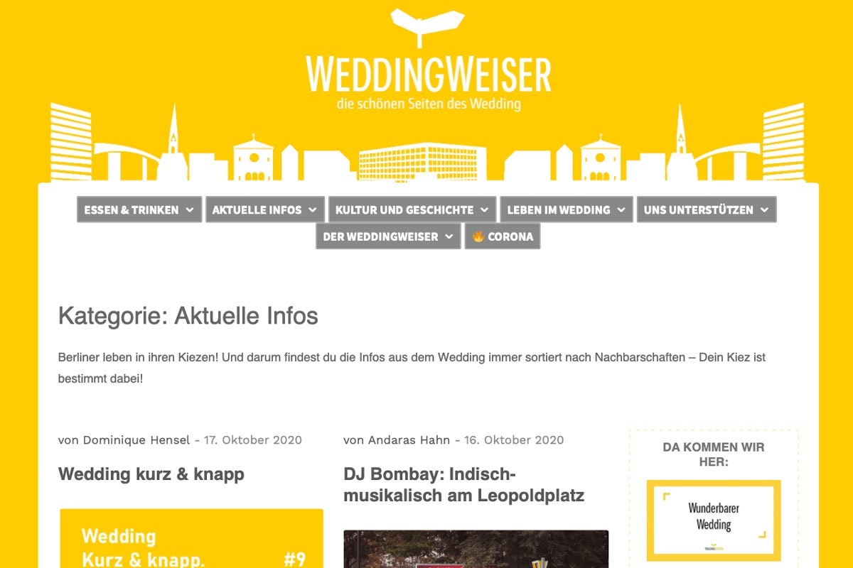 "Webseite ""Weddingweiser"""